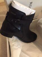 Women's Black Waterproof Rockport Copley Strap Ankle Boots Size UK 8.5