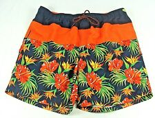 Faded Glory, Men's Swim Trunks, Black with Bright Red & Green Floral, Size: XL