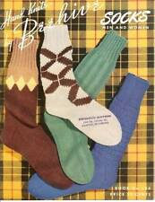 Vintage 40s Beehive Socks Men Women Hand Knit Pattern Booklet Knitting Book 134