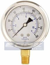 "LIQUID FILLED PRESSURE GAUGE 0-160 PSI, 2.5"" FACE, 1/4"" NPT LOWER MOUNT WOG"