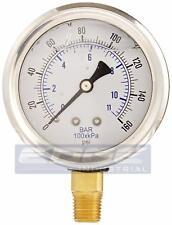 Liquid Filled Pressure Gauge 0 160 Psi 25 Face 14 Npt Lower Mount Wog