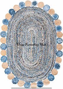 Dhurrie RUG Braided Hand Woven Oval Rug Area Rug Carpet Jute Denim Cotton Rug