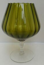 Art Glass Oversized Brandy Snifter Optic Blown Green/ Clear