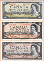 1954 QE2 Portrait Bank of Canada $20, $50 and $100 Notes