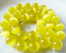 Lovely 8mm Shiny Yellow Mexico Opal Gemstone Beads Around Necklace 18""