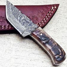 """NEW CUSTOM HANDMADE DAMASCUS 5.50"""" MINI HUNTING KNIFE RAM HORN HANDLE - UT-3618"""