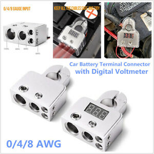 Pair Digital Voltmeter Car Battery Terminal Connectors 0/4/8 AWG Power Post Kit