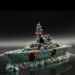 Large Aquarium Decorations Wreck Sunk Ship Plactic Boat Air Split Shipwreck Fish