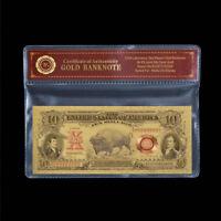 WR Vereinigte Staaten 1901 $10 BISON NOTE 24K Goldfolie Banknoten Mit Zertifikat