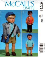 McCalls Sewing Pattern 7734 M7734 Boys Doll Clothes Shirt Hoodie Pants Hat NEW