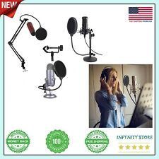 Dual Layered Microphone Pop Filter Mask Shield for Blue Yeti and Other Mic 360°