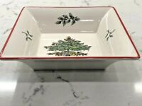 SPODE CHRISTMAS TREE SQUARE BOWL/ CANDY DISH. 6 X 6 INCHES RED BORDER TRIM