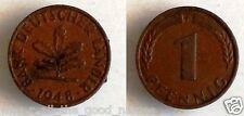 1948 Post WW2 German 1 Pfennig - Vintage COIN - Deutsche