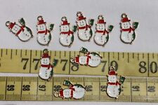 21.5x12.5xmm Enamel Christmas Snowman Alloy Pendant Charm Crafts 10pc / RS69