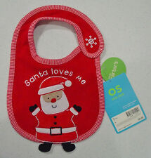 """CARTERS """"SANTA LOVES ME"""" RED CHRISTMAS BIB ONE SIZE NWT"""