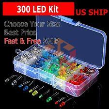 300Pcs 3mm 5mm LED Light White Yellow Red Blue Green Assortment Diodes Set Kit