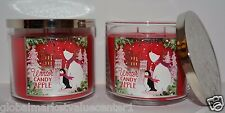 2 Bath & Body Works WINTER CANDY APPLE Scented 3 WICK GLASS Candle 14.5oz