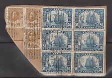 Canada #158 Used Rare Block Of Six With Sunlife Perfin & Three #118 On Piece