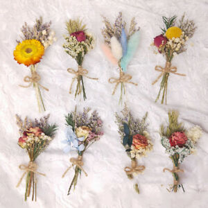 Natural Dried Flower Mini Bouquet Bunch Rose Sunflower Grass Plants Home Decor