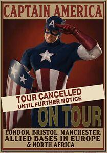 "EFX CAPTAIN AMERICA ON TOUR repro movie prop poster huge 41x27"" rare FREE P&P"