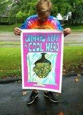 Vintage Early 1970's Always Keep A Cool Head Poster Rare Vagabond Creations NOS