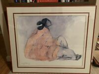 """RC Gorman """" Sitting Woman """" Signed Litho Print - 1977 - Matted and Framed !"""