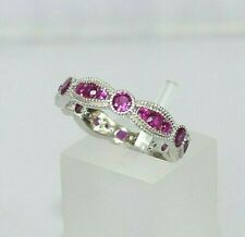 Ladies Art Deco Design 925 Sterling Solid Silver Red Ruby Full Eternity Ring