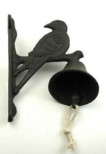 Cast Iron Wall Mount Single Bird Bell Rustic Brown for Indoor or Outdoor