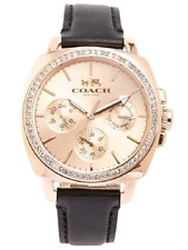 Coach Ladies Rose Gold Boyfriend Black Leather Strap Watch Crystal Base 14503135
