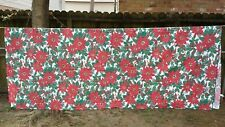 """Red Green Print Christmas Poinsettia Rectangle 76""""X67"""" Tablecloth Free Shipping"""