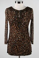 Inc International Concepts Black Brown Cutout Leopard Beaded Tunic Blouse Size M