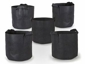 5 Pack 5 Gallon Heavy Duty Thickened Nonwoven Fabric Pot Grow Bags With Handles
