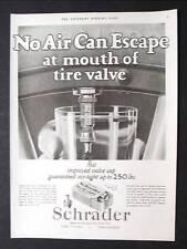 Original 1926 Schrader Tire Valve Cap Ad 10 x 13.5 NO AIR ESCAPE AT VALVE MOUTH