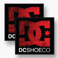 2x DC SHOE CO Logo Vinyl Sponsor Decal Sticker Skate Snowboard Moto