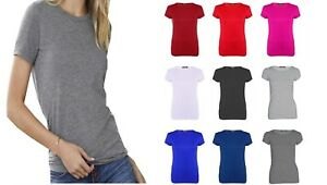 LADIES WOMENS SHORT SLEEVE ROUND NECK BASIC CASUAL T SHIRT TOP PLUS SIZE 8-26