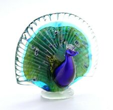 "New 8"" Hand Blown Art Glass Bird Peacock Figurine Sculpture Statue Decorative"