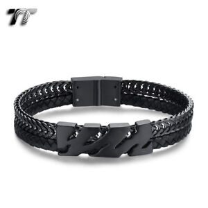 TT Black Leather 316L S.Steel Animal Print Curb Chain Bracelet Wristband (BR294)