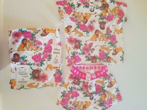 BONDS Disney Lion King Pyjamas Pjs summer short Sleep Set White Pink Size 2 BNWT