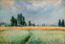 claude monet vintage painting art print wheat field flowers canvas large