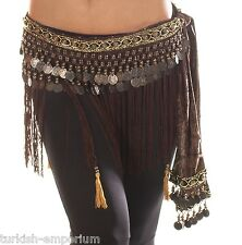 Belly Dance Fringe Skirt Hip Scarf Coin Belt Tribal Style Wrap Waist Sash NEW UK