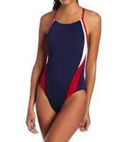 Speedo Women's Swimwear Blue Size 8 Endurance+ One Piece Swimsuit $79 #189