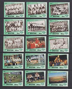 Bhutan Sc 1028-1048 MNH. 1991 World Cup Soccer, cplt set of 15 + 6 souv sheets
