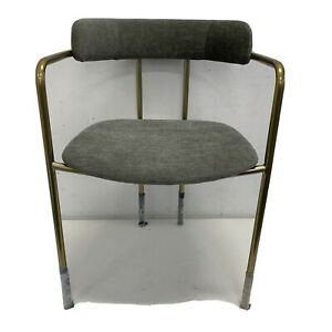 West Elm Lenox Upholstered Dining Chair Distressed Velvet Mineral Gray Bl. Brass
