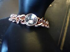 BRACELET AGATHA MAILLE GOURMETTE DORE ROSE/CRISTAL BLANC/NEUF