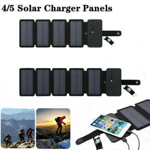 Solar Charger Panel Power Bank Fold Mobile Phone Waterproof Outdoor Camping 4/5P