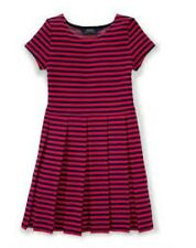 Ralph Lauren Girls' Pleated Fit And Flare Navy/Red  Dress, 2/2T EUC