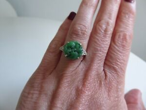 A Stylish 9ct White and Carved Jade and Diamond Ring. c.1920s