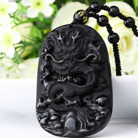 Sculpté à la main naturelle obsidienne noire Dragon  Chanceux perles pendentif