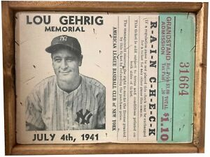 Antique Style Lou Gehrig Memorial Ticket Baseball Wood Display Sign 12x16