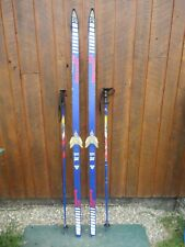 """GREAT Ready to Use Cross Country 73"""" BENNER 211S 190 cm Snow Skis  + Poles"""